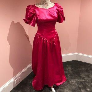 Pink satin 80s prom dress